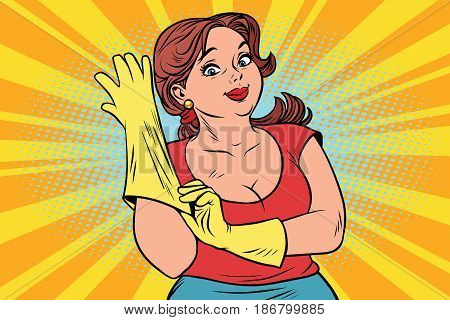 woman in rubber gloves cleaning. Comic cartoon vintage pop art retro vector illustration