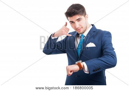Salesman Doing Call Gesture And Showing His Watch