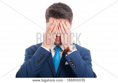 Young Lawyer Making The See No Evil Gesture