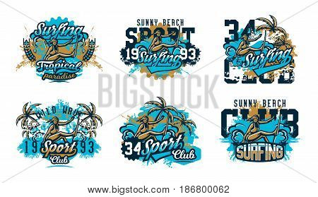 A collection of designs for printing on a T-shirt, a surfer girl drifting through the waves. Extreme sport, beach, sunny coast, lettering, text. Vector illustration, grunge effect.