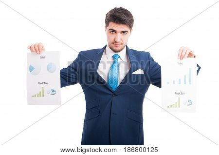 Professional Young Salesman Rising Up Some Statistic Papers