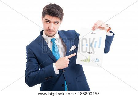 Charming Entrepreneur Or Salesman Showing His Charts