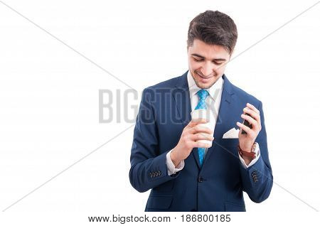 Confident Businessman Drinking Hot Coffee