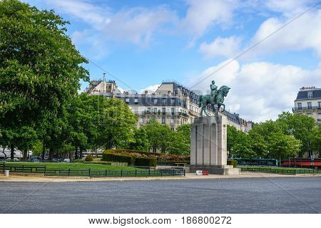 Paris France - May 1 2017: Bronze equestrian statue of Marechal Ferdinand Foch at Trocadero with blue sky cloud day background on May 1 2017 in Paris France.
