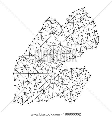 Map of Djibouti from polygonal black lines and dots of vector illustration