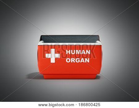 Open Human Organ Refrigerator Box Red 3D Render On Grey