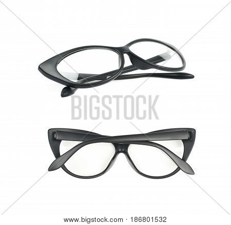 Pair of black plastic sight glasses isolated over the white background, set of two different foreshortenings