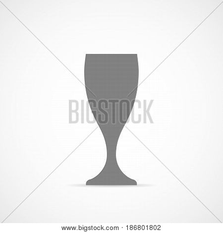 Wine glass icon in a flat design. Vector illustration. Gray wine glass cup icon on light background.