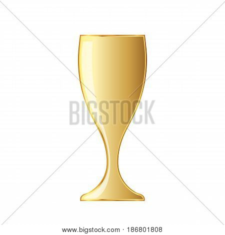 Golden wine glass icon. Vector illustration. Golden wine glass cup icon on white background.