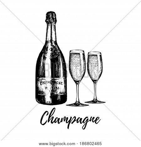 Hand sketched champagne bottle and two glasses. Vintage vector illustration of sparkling wine set for cafe, bar, restaurant menu. Celebration design concept.