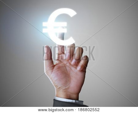 Hand touch virtual icon in , money concept