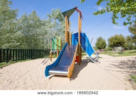 Lonely Metal Slide In Playground