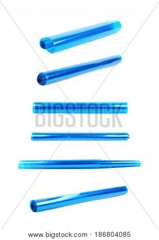 Roll tube of transparent blue plastic film coating isolated over the white background, set of six different foreshortenings