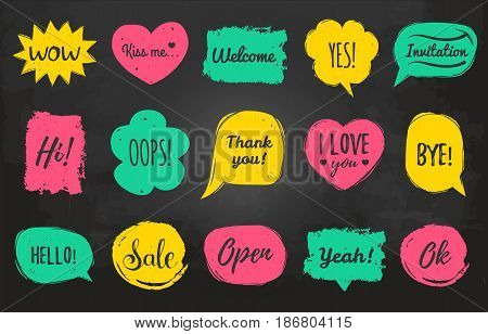 Vector hand drawn set of speech bubbles with phrases Hi, Hello, I love you, Yes, Wow, Welcome etc. Comic balloons collection.