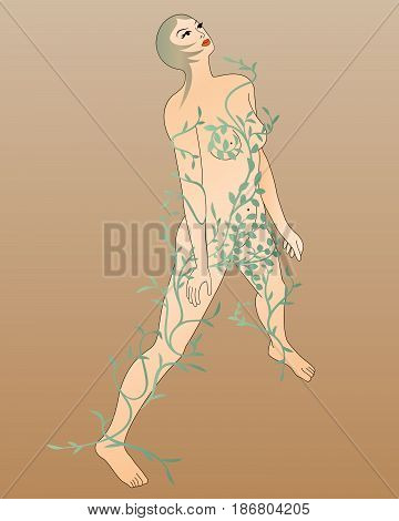 Woman with leaves. Art Nouveau style. 3D isometric view. Vector illustration.