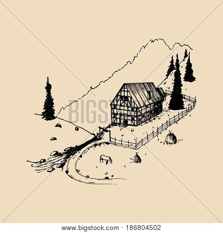 Sketch of german countryside homestead, peasants house in mountains. Vector hand drawn farm landscape illustration