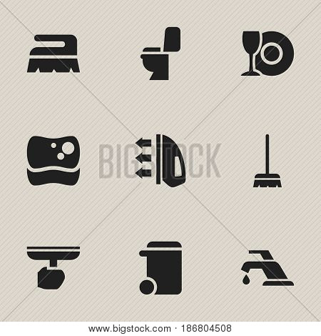 Set Of 9 Editable Cleanup Icons. Includes Symbols Such As Brush, Sweep, Steam And More. Can Be Used For Web, Mobile, UI And Infographic Design.
