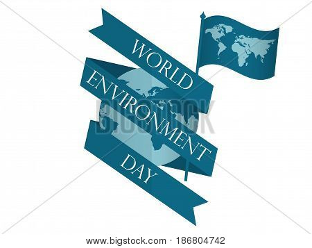 World Environment Day 5th june. Planet earth with ribbon and flag with world map. Festive label banner. Vector illustration