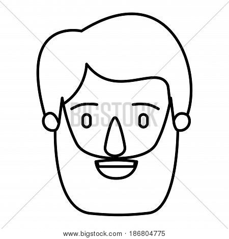silhouette image caricature front view bearded man with moustache and hairstyle vector illustration