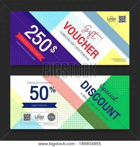 Modern gift voucher on colorful background for sales and marketing campaign