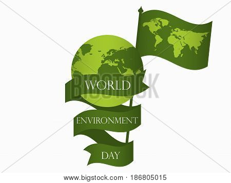World Environment Day 5Th June. Planet Earth With Ribbon And Flag With World Map. Festive Label, Ban