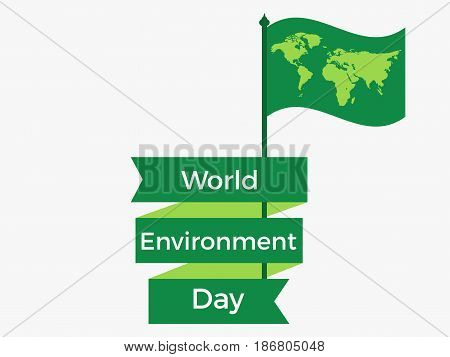 World Environment Day 5Th June. Flag With A World Map And Ribbon. Festive Label, Banner. Vector Illu
