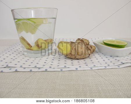Detox water with ginger root and lemon