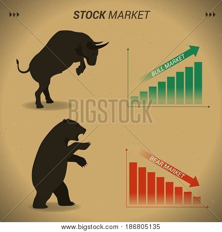 Stock market concept bull vs bear are facing and fighting on brown paper background with downtrend and uptrend graph