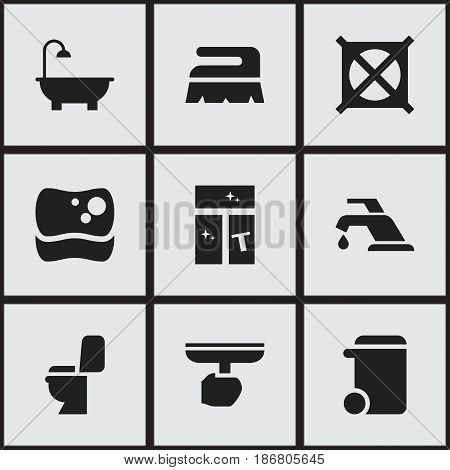 Set Of 9 Editable Cleanup Icons. Includes Symbols Such As No Laundry, Washing Tool, Restroom And More. Can Be Used For Web, Mobile, UI And Infographic Design.