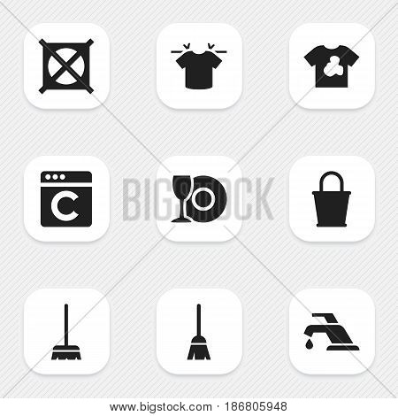 Set Of 9 Editable Hygiene Icons. Includes Symbols Such As No Laundry, Whisk, Clean T-Shirt And More. Can Be Used For Web, Mobile, UI And Infographic Design.