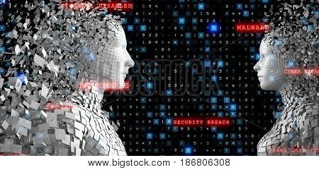 Profile view of digital pixelated 3d man against virus background