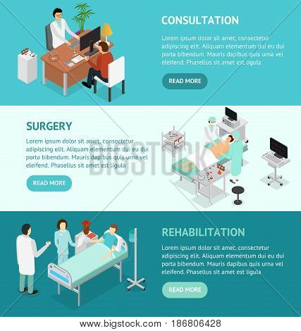 Patient and Doctor Appointment Banner Isometric View. Consultation Surgery and Rehabilitation Specialist in Cabinet Interior of Clinic Vector illustration poster