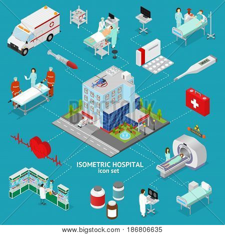 Medicine Hospital Concept Isometric View Building Architecture and Element Service Professional Care. Vector illustration