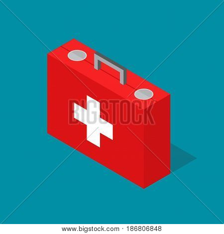 Medical Case First Aid Kit Isometric View Style Design Emergency Help Health. Vector illustration