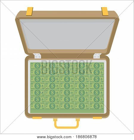 Case full of money isolated on background. Vector illustration