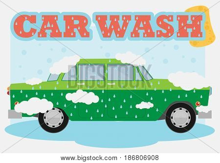 Flat vector green old car wash background