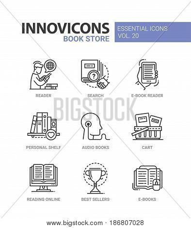 Book store - modern color vector single line icon set. Reader, search, e-book, personal shelf, audio, cart, reading online, best seller