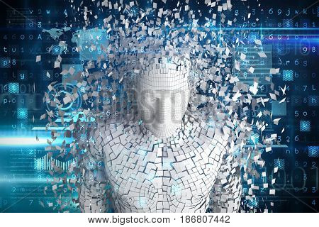 Digitally generated gray pixelated 3d man against blue and black technology interface