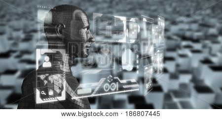 Profile view of digital black 3D man against high angle view of digital blocks
