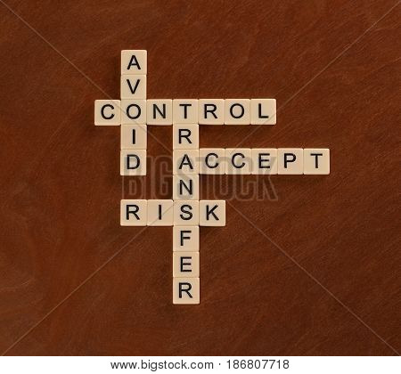 Crossword Puzzle With Words Avoid, Control, Transfer, Accept. Risk Management Concept.