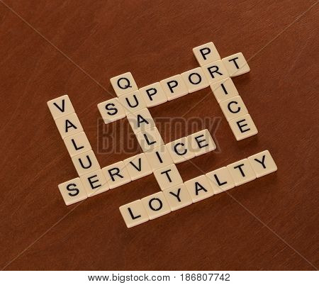 Crossword Puzzle With Words Quality, Value, Prise, Support. Brand Loyalty Concept.