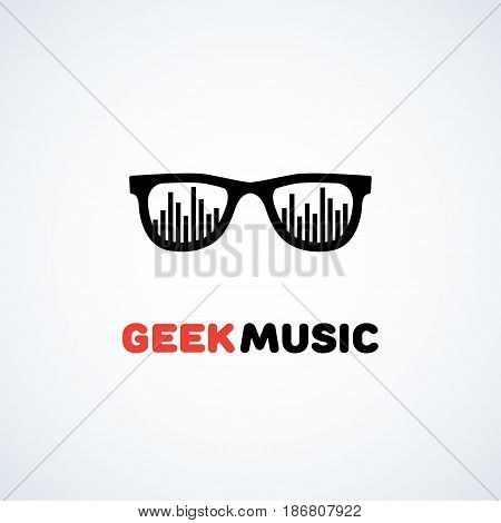 Logo design template with glasses and equalizer. Vector illustration.