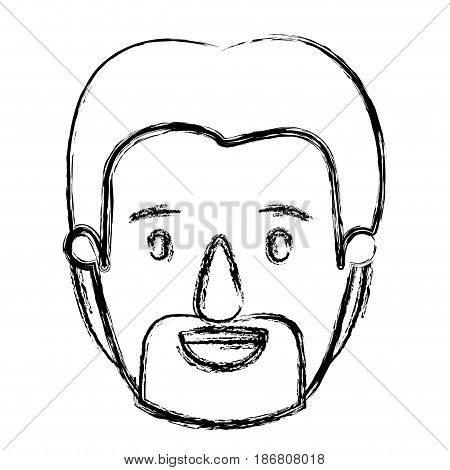blurred silhouette caricature front view bearded man with moustache vector illustration