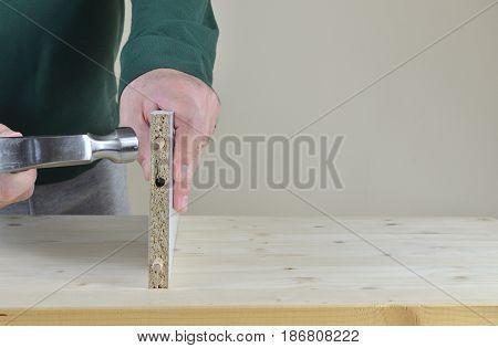 Placing Wooden Dowels