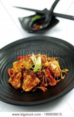 Sauteed Beef With Spices On Black Platter
