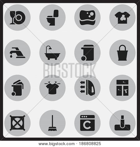 Set Of 16 Editable Cleaning Icons. Includes Symbols Such As Faucet, Bathroom, Pail And More. Can Be Used For Web, Mobile, UI And Infographic Design.
