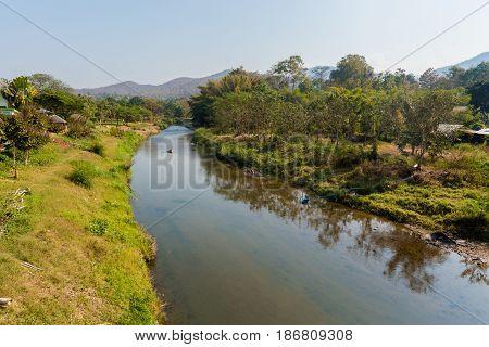 River Landscape In Pai Village