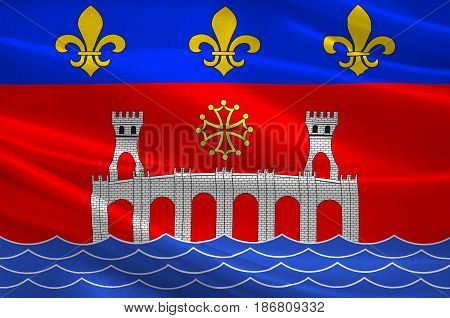 Flag of Villefranche-de-Rouergue is a commune in the Aveyron department in southern France. 3d illustration