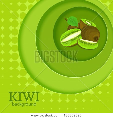Green background with circles on top of each other and ripe fruit kiwi. Vector illustration. Tropical fresh kiwifruit round volume background with shadow, for the design of juice food detox diet