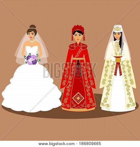 Traditional European American Chinese Caucasian Armenian bride. Bride in wedding dress. Vector illustration.